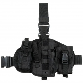 "Leg Holster, ""MOLLE"", right, black, with pouches"