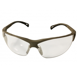 ASG Clear lens protective glasses w. adjustable temples & tan frame