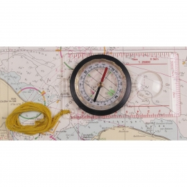 Map Compass, plastic body, magnifier, measuring device
