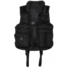 Tactical Vest, with leather, black