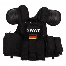 Vest Combat Modular, black, bags and pouches, quick remove