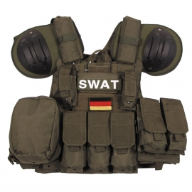 Vest Combat Mod., OD green, bags and pouches, quick remove