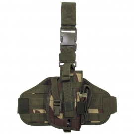 "Tactical Holster, ""Molle"", leg- and belt fixing, woodland"