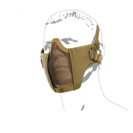 Protective Metal mesh mask with cheek pad, TAN