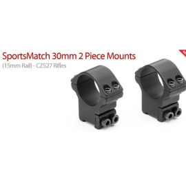 Sportsmatch HT074 30mm 2 piece Mount Ring for 15mm CZ527 & Fox 56mm scope lens