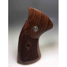 Grip hout voor Smith & Wesson K L Frame Round Butt M66 686 Target Grips Wood Checkered